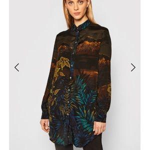 Desigual Long Shirt 'Rin' Black multi Size XL NWT